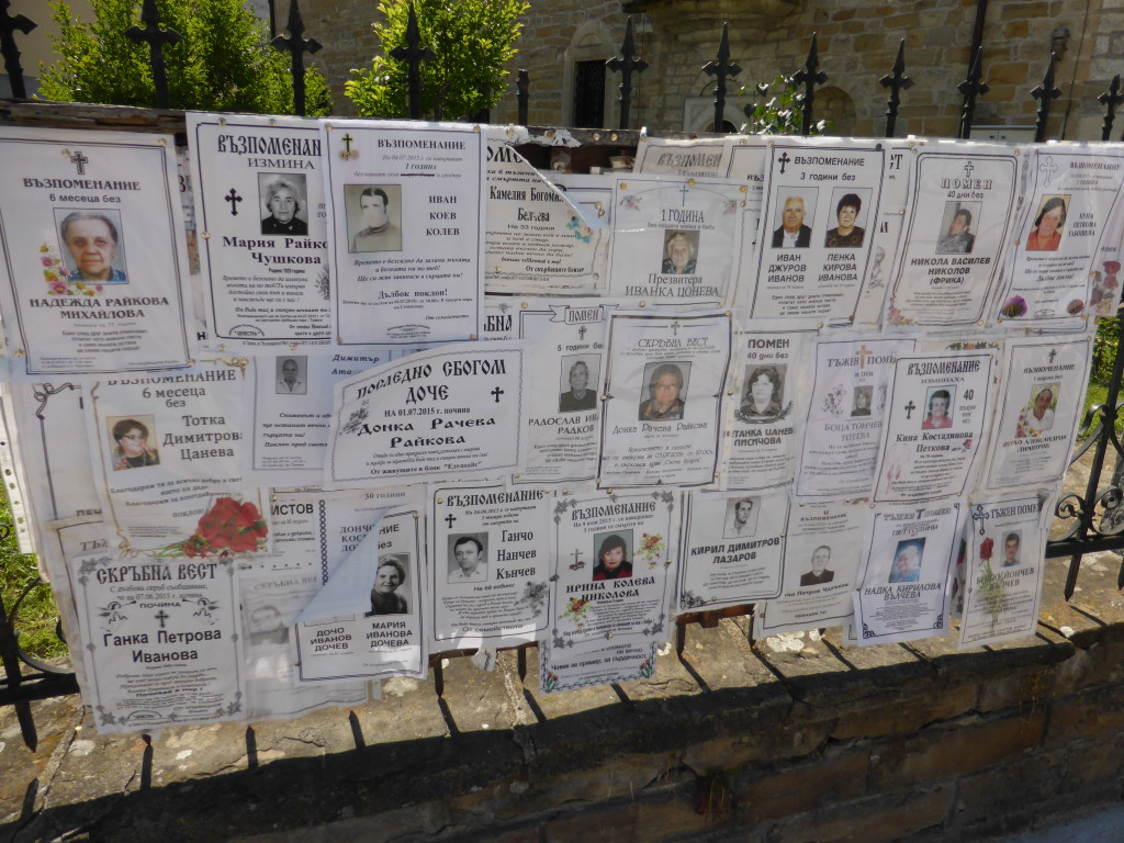 Outside of the church we saw the death notices. These are posted in various places in the towns.