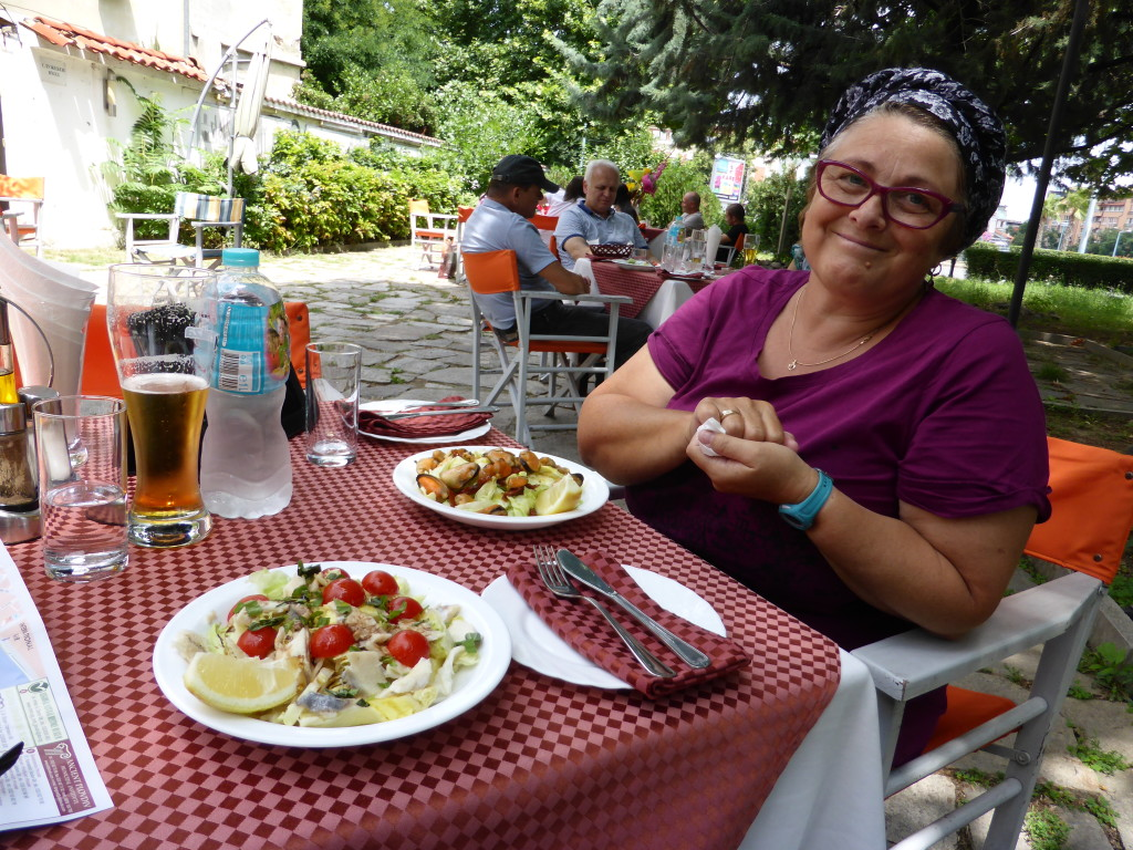Lunch at Plovdiv. Healthy salads, the potato dish is out of screen shot.