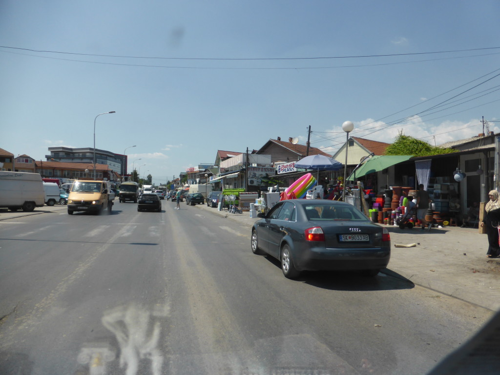 Driving through the town , our first impression of Kosovo.