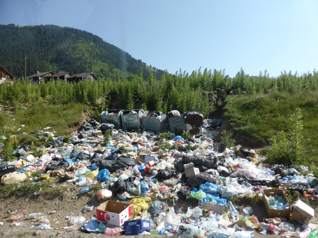 All the sites are not beautiful as you can see. This was at the top of the mountain and the rubbish had not been collected for awhile.