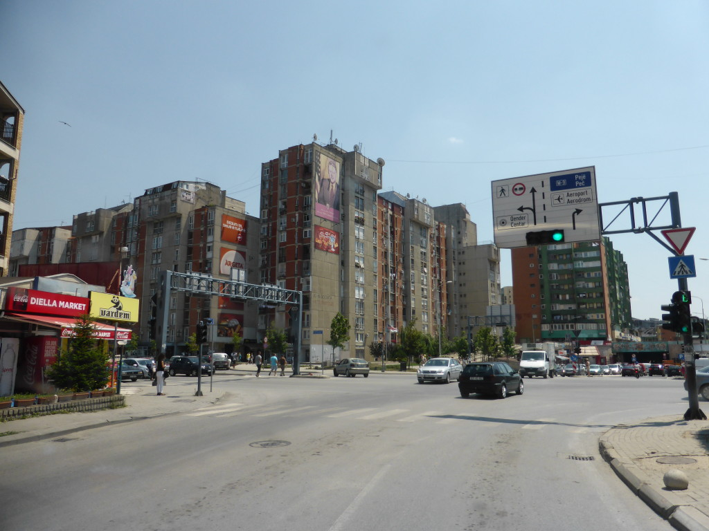 Driving into Pristina. We couldn't take many photos as Jenny was busy navigating the busy streets and I was driving.