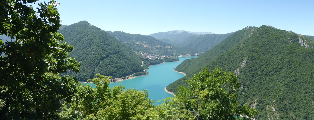 Coming down from the mountain to the views of lake Trnovacko. The water was so blue it looked like dye had been put into the water.