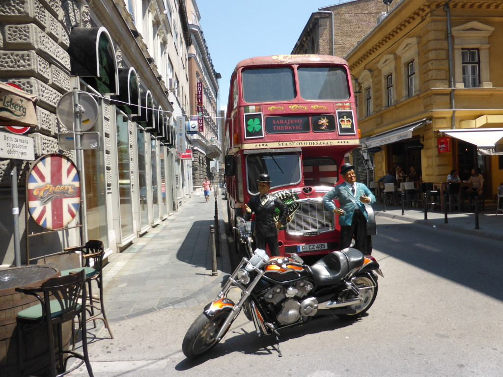 Double decker bus, Lauren and Hardy, with a Harley. Something we didn't expect to see on the streets of Sarajevo.