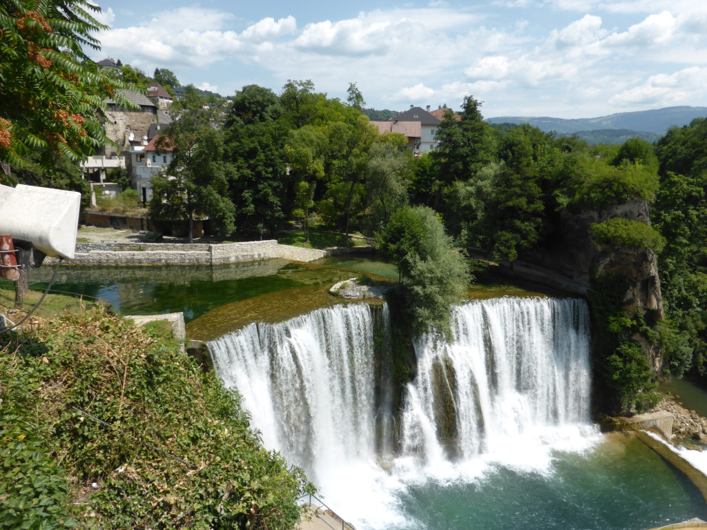 The waterfall at Jajce. Its right in the middle of the town.