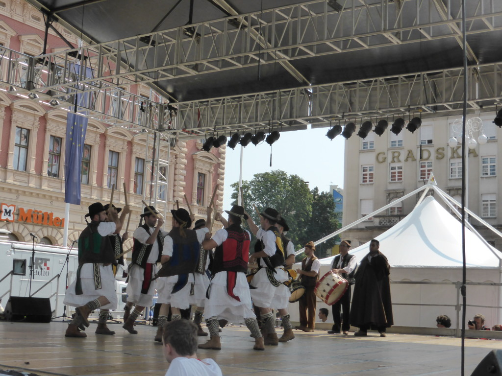 Dancers and musicians entertained the crowd in the square.