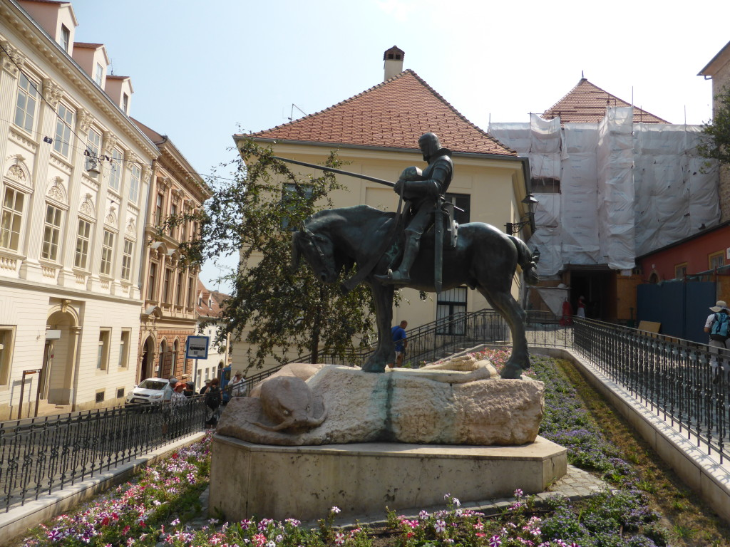Statue of St. George and the dragon. This depicts the scene after the dragon has been killed.