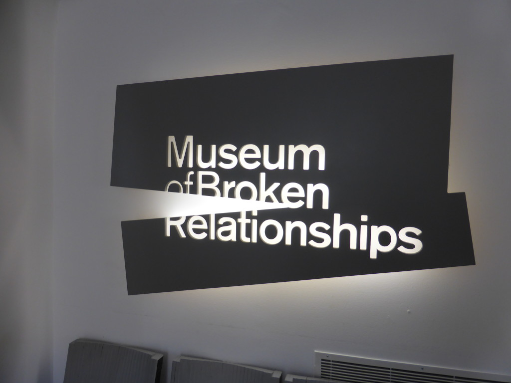 In the cafe of this museum we stopped for a well earned drink. We didn't go inside but it has items sent in from all over the world depicting broken relationships.