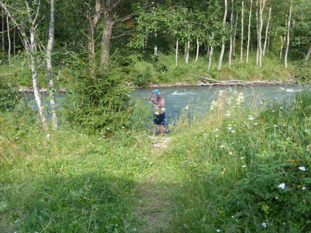 Ewout having a rince off in the river. The water was cold but not icy.
