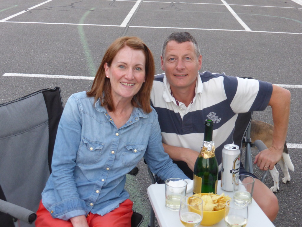 Emma and Paul celebrating their wedding anniversary in the carpark in Lichtenstein. Not very romantic but we all had a pleasant evening.