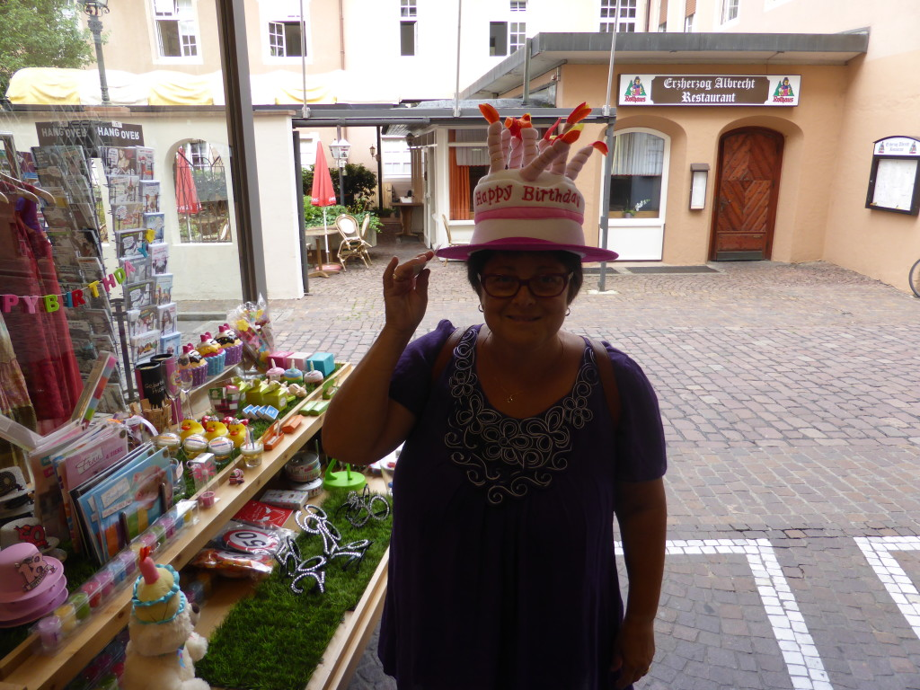 Jenny trying on the birthday hat.