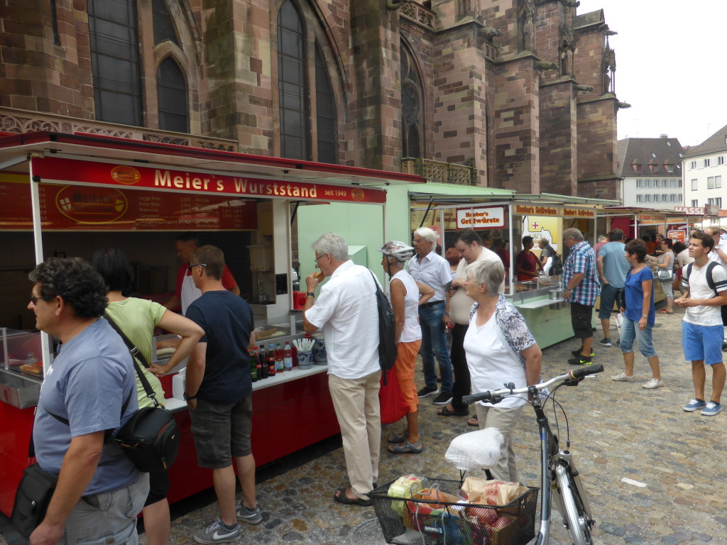 It was lunch time and the wurst stalls were the most popular doing a roaring trade.