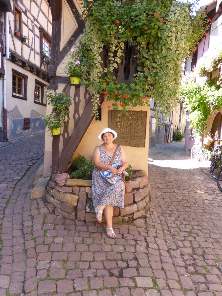 Jenny on her birthday in the town of Eguisheim. A pleasant town to spend the day.