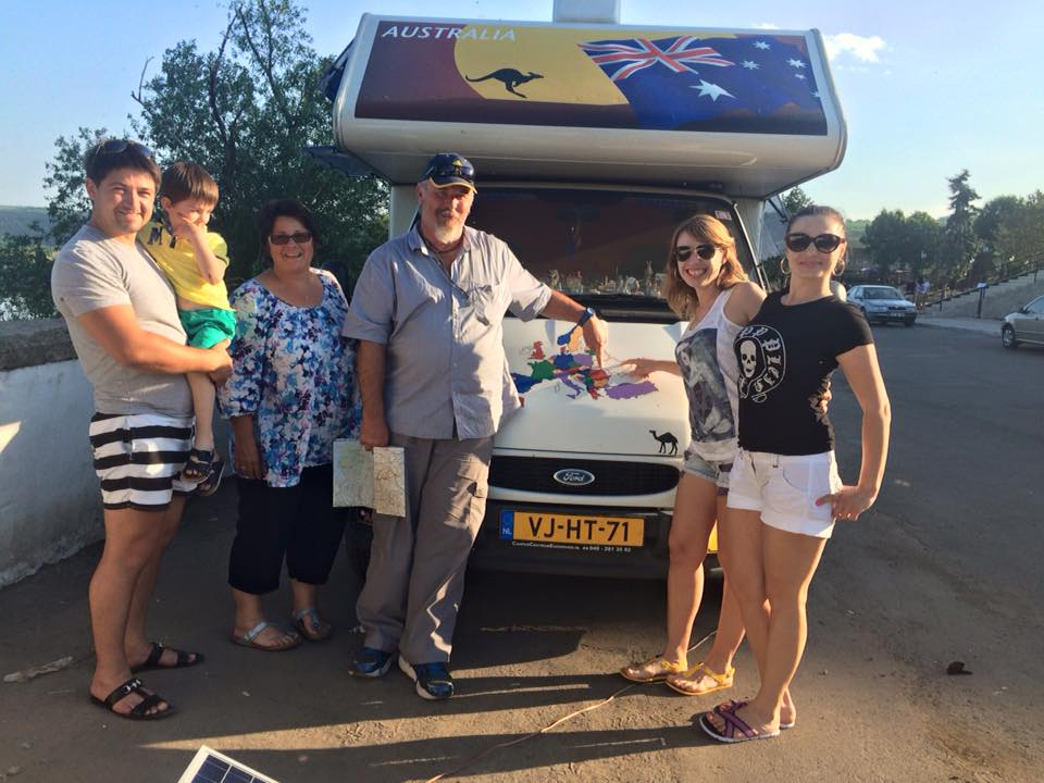 We are parked in front of the Fortress in Socorro in Moldova. This family was interested in our travels. Not many motorhomes visit Moldova. I gave the young lad a Kangaroo. An hour later they returned with a very nice bottle of Moldavian wine. An unexpected surprise.