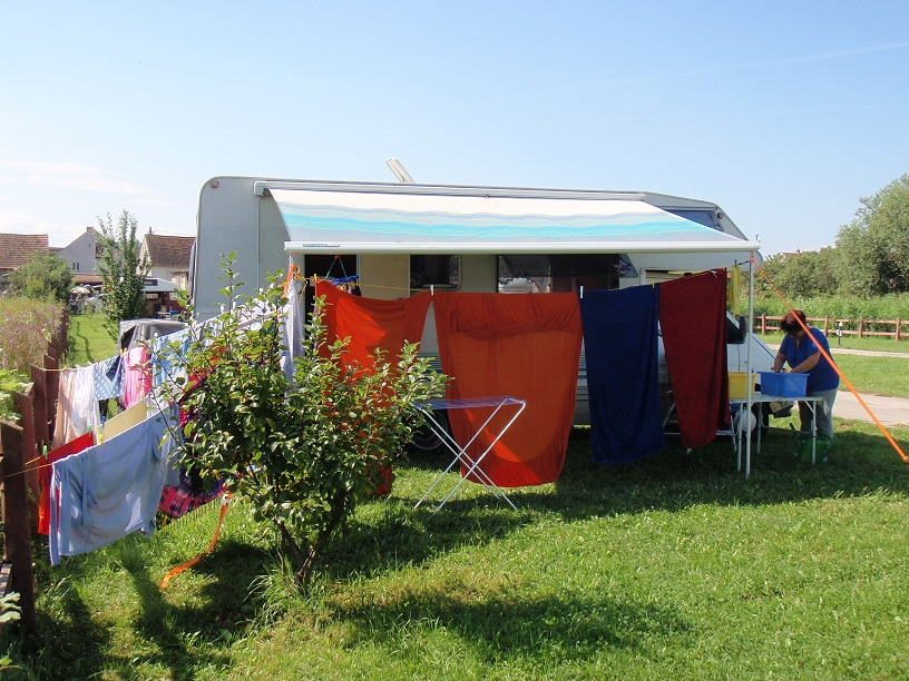 A busy day washing all our clothes and bedding in a Romanian campsite.
