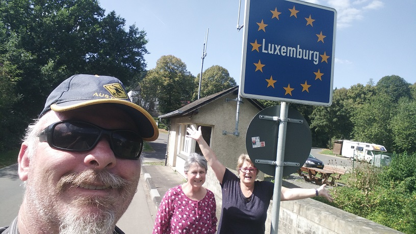 Selfie at the border of Germany and France. Here is where we has lunch.